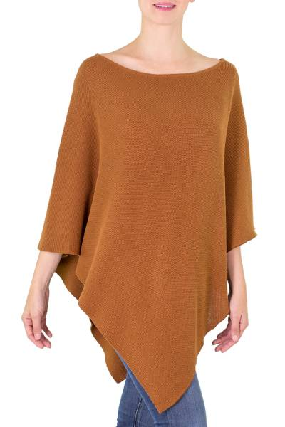 Handcrafted Tan Cotton Knit Poncho