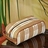 Cotton and leather travel case, 'Natural Man' - Central American Cotton Cosmestic Travel Case