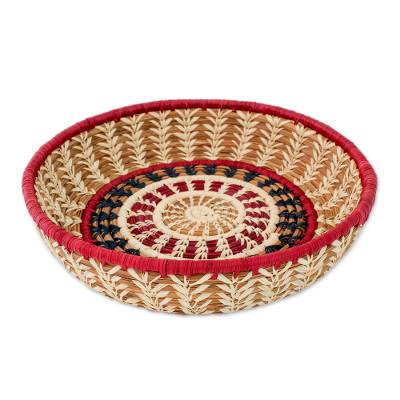 Artisan Crafted Natural Fiber Basket from Central America