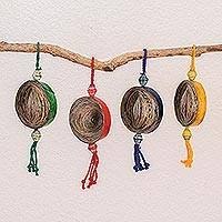Recycled paper ornaments, 'Dancing Cosmos' (set of 4) (Guatemala)
