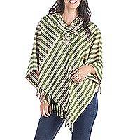 Cotton poncho, 'Cosmic Nature' - Handcrafted Central American Cotton Poncho