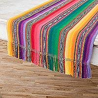 Cotton table runner, 'Violet Fantasy' - Hand Loomed Central American Cotton Table Runner