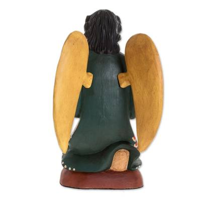 Wood sculpture, 'Angel of Gratitude' - Hand Painted Angel Wood Sculpture