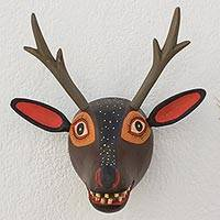 Wood sculpture, 'Maya Deer' - Hand Made Wood Deer Wall Art