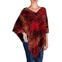 Cotton poncho, 'Ruby Tradition' - Hand Loomed Cotton Blend Poncho
