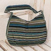 Cotton hobo bag, 'Jade Synchronicity' - Green Striped Cotton Shoulder Bag