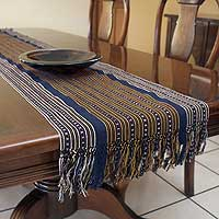 Cotton table runner, 'Lakeshore' - Hand Crafted Cotton Runner Table Linen