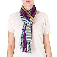 Cotton scarf, 'Village Fair' - Cotton scarf
