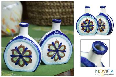 Ceramic vases, 'San Antonio Blossom' (pair) - Floral Ceramic Painted Vases (Pair)