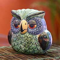 Ceramic figurine, 'Jade Owl' - Green Painted Ceramic Owl Sculpture