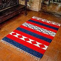 Wool area rug, 'Guatemala Diamonds' - Hand Made Wool Area Rug from Central America