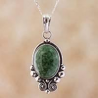 Jade pendant necklace, 'Praise Love' - Sterling Silver Jade Pendant Necklace