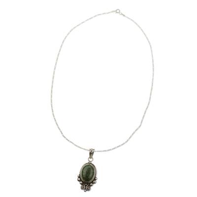 Sterling Silver Jade Pendant Necklace