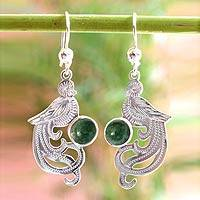 Jade dangle earrings, 'Green Quetzal' - Handcrafted Sterling Silver Dangle Jade Bird Earrings