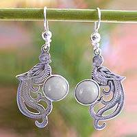 Lavender jade dangle earrings, 'Lavender Quetzal' - Sterling Silver Dangle Jade Bird Earrings