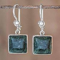 Jade dangle earrings, 'Love's Riches' - Guatemalan Sterling Silver and Jade Dangle Earrings