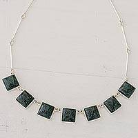 Jade pendant necklace, 'Love's Riches' - Fair Trade Sterling Silver 925 Jade Pendant Necklace