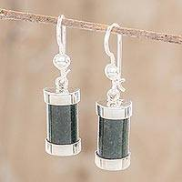 Jade dangle earrings, 'Sweet Maya' - Good Luck Sterling Silver Dangle Jade Earrings