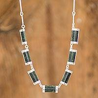 Jade chain necklace, 'Sweet Maya' - Artisan Crafted Good Luck Sterling Silver Jade Necklace