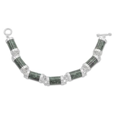 Fair Trade Green Jade and Sterling Silver Link Bracelet