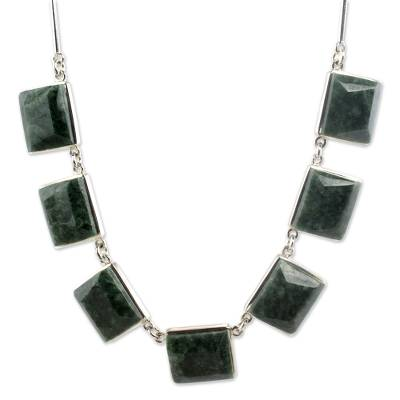 Handcrafted Central American Sterling Silver Jade Necklace