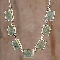 Jade pendant necklace, 'Maya Wisdom' - Good Luck Sterling Silver Pendant Jade Necklace