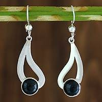 Black spinel dangle earrings, 'Glistening Rain' (Guatemala)