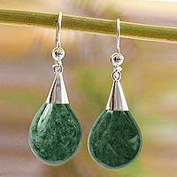 Jade dangle earrings, 'Dewdrops' - Sterling Silver and Jade Dangle Earrings