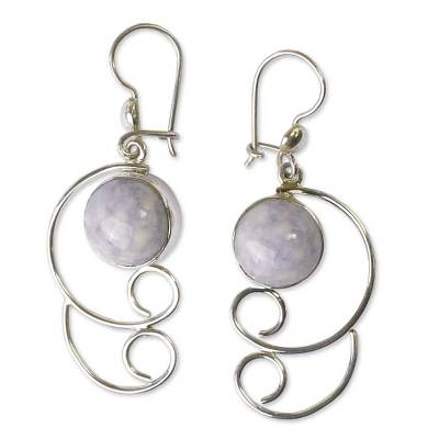 Jade Dangle Sterling Silver Earrings
