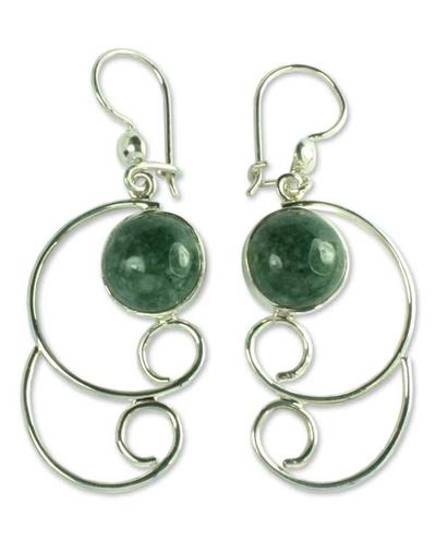 Sterling Silver Dangle Jade Earrings