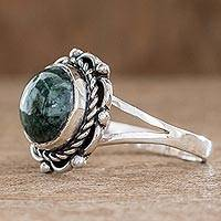 Jade cocktail ring, 'Antigua Sun' - Unique Womens Sterling Silver and Jade Cocktail Ring