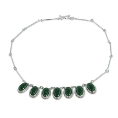 Unique Jade Pendant and Braided Sterling Silver Necklace