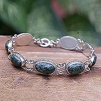 Jade link bracelet, 'Eternal Love' - Handcrafted Jade and Sterling Silver Bracelet from Guatemala