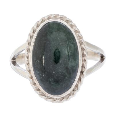 Sterling Silver Single Stone Jade Ring