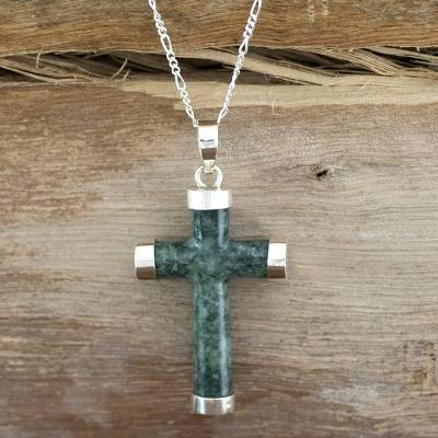 Jade cross necklace, 'Maya Hope' - Handcrafted Sterling Silver Jade Pendant Cross Necklace