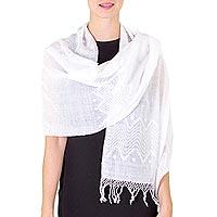 Cotton shawl, 'Santa Cruz Sierra' (Guatemala)