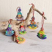 Ceramic ornaments, 'Christmas Tree' (set of 6) - Unique Terracotta Ornament Set