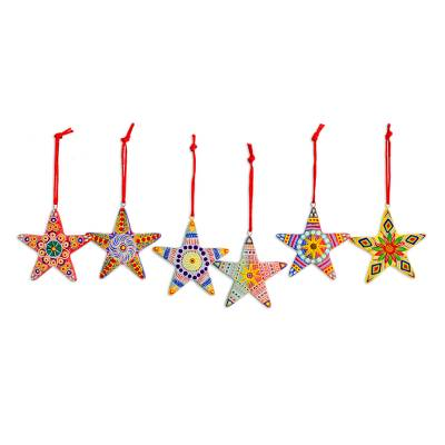 Ceramic ornaments, 'Christmas Star' (set of 6) - Artisan Crafted Ceramic Christmas Ornaments (Set of 6)