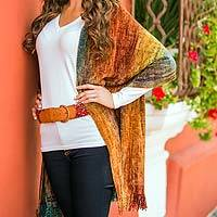Rayon chenille shawl, 'Tropical Volcano' - Bamboo Chenille Patterned Women's Shawl