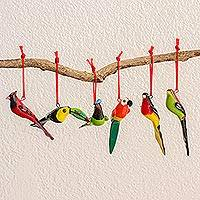 Ceramic ornaments, 'Forest Birds' (set of 6) (Guatemala)