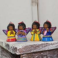 Ceramic ornaments, 'Angels' (set of 4)