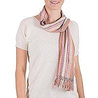 Cotton scarf, 'Sugar Shimmer' - Unique Cotton Blend Fall Colors Scarf
