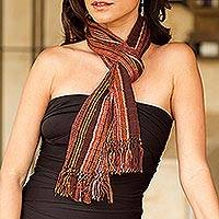 Cotton scarf, 'Maya Chocolate Shimmer' - Artisan Crafted Cotton Blend Scarf from Central America