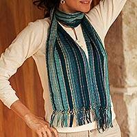 Cotton scarf, 'Maya Blue Shimmer'