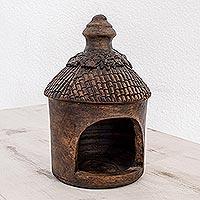 Ceramic candleholders, 'Birdhouse' (Guatemala)