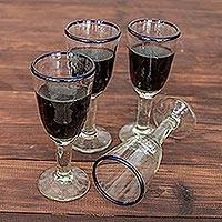 Blown glass wine glasses, 'Bubbly' (set of 4) - Handblown Recycled Glass Cobalt Blue Rim Wine Glasses
