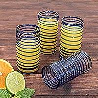 Blown glass tumblers, 'Whirlwind' (set of 4) - Collectible Handblown Recycled Glass Drinkware (Set of 4)