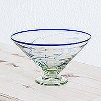 Decorative blown glass centerpiece, 'Blue Inspiration' - Decorative blown glass centerpiece