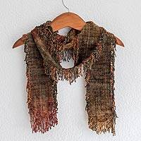 Rayon chenille scarf, 'Pacaya Volcano' - Unique Guatemalan Rayon Chenille Scarf