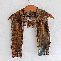 Rayon chenille scarf, 'Atitlan Volcano' - Rayon chenille scarf